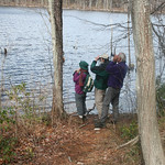 RMN Salamander Hike, March 3, 2012: Checking out a red-headed woodpecker. Photo by Eric Johnson.